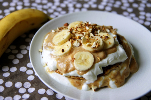 banana pancakes with date toffee and vanilla yoghurt